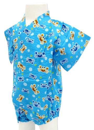カニ柄 青色 ロンパース甚平 グレコ [80サイズ] 綿100% 日本製 真夏のルームウェア&夏祭りはコレで決まり!