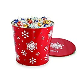 Lindor Lindt Chocolate Truffles Jumbo Snowflake Tin, 175 Count