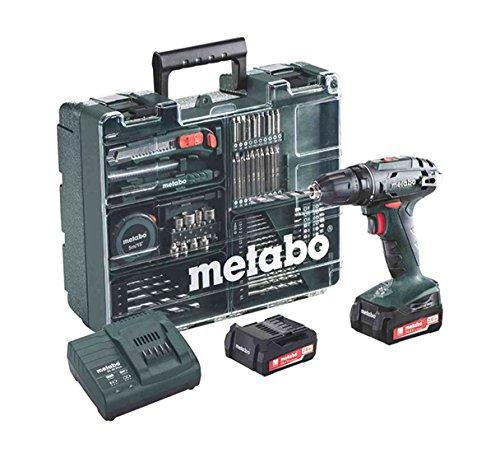 Metabo-Akkuschrauber-BS-144-mit-Zubehr-Set-Akkubohrer-mit-integriertem-Arbeitslicht-und-2-Li-Ion-Langzeit-Akkus-144V-2Ah-Zubehr-Set-vorhanden