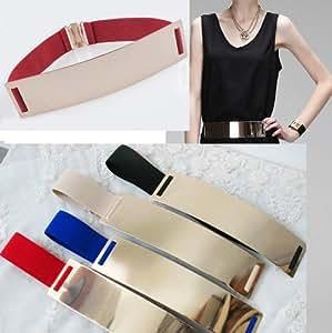 Eplayer® Metal Elastic Mirror Waist Belt Leather Metallic Bling Gold Plate Wide 6cm