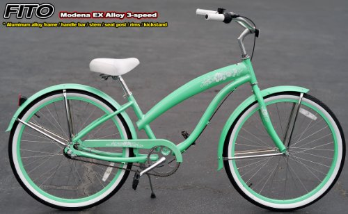 Anti-Rust Aluminum Alloy Anti-Rust Frame, Fito Modena EX Alloy 3-speed - Mint Green, women's Beach Cruiser Bike Bicycle, Shimano Nexus Equipped
