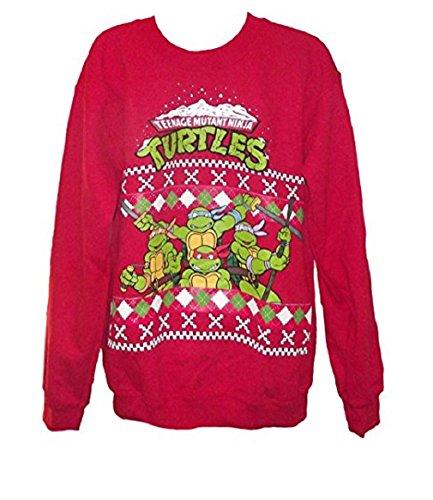 TMNT Group Red Christmas Sweater Sweatshirt- Men's Me (Ninja Turtles Sweater Mens compare prices)