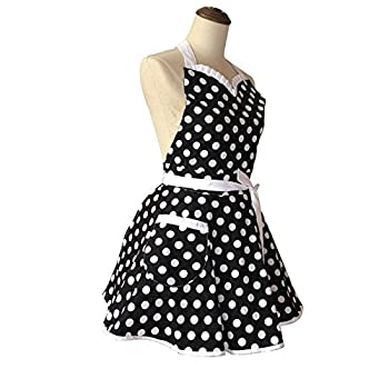 Lovely Sweetheart Black Retro Kitchen Aprons Woman Girl Cotton Polka Dot Cooking Salon Pinafore Vintage Apron Dress Gift