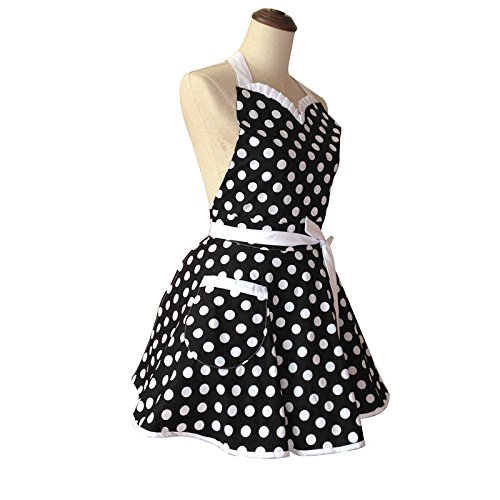 Lovely Sweetheart Black Retro Kitchen Aprons Woman Girl Cotton Polka Dot Cooking Salon Pinafore Vintage Apron Dress Gift 2