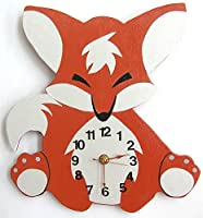 Nursery Wall Clock, Nursery Fox Clock, Hanging Fox Clock, Children's Room Wall Clock, Fox Wall Clock, Kid's Room Foxl Clock from HH Baby Boutique