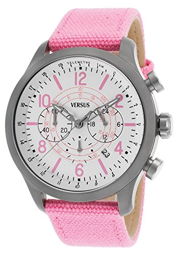 Versus Unisex SoHo 44mm Chronograph Pink Canvas Band Quartz Date Watch SGL06