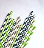 Navy and Lime Green Paper Straw Pack- Set of 25