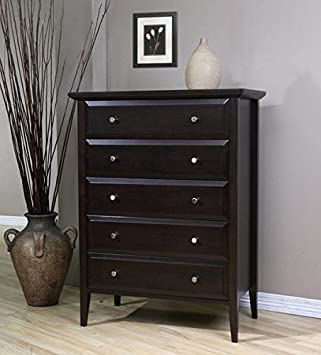 Coventry 5-drawer Brown Wood Chest Dresser Elegant Style Bedroom or Living Room Furniture