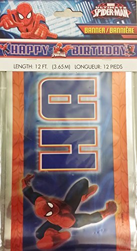 MARVEL SPIDERMAN HAPPY BIRTHDAY BANNER 12 FEET LONG by Spider-Man