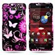 CoverON® Black Hard Cover Case With Pink Butterfly Design For Motorola Droid Razr M / Luge Verizon With Case Removal Tool