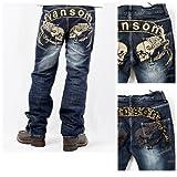 (バンソン)VANSON デニム ジーンズ パンツ ウイング スカル レオパード SKULL 髑髏 PUレザー 刺繍 SP-B-7