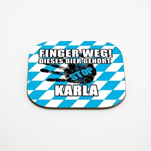 Untersetzer für Gläser mit Namen Karla und schönem Motiv - Finger weg! Dieses Bier gehört Karla