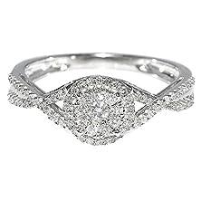 buy 0.3Cttw Bridal Engagement Ring Promise Gift Ring Split Shoulder 10K White Gold(0.3Cttw)