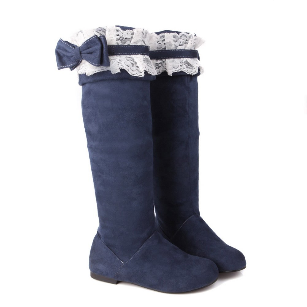 QueenFashion Women's Candies High Leg Boots with Bowknot and Lace