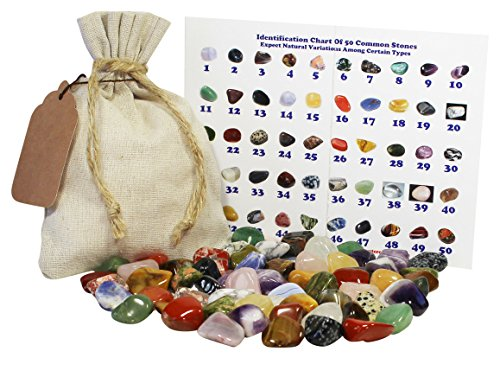 1 Full Lb MD/SM Natural (no dyed) Mixed Tumbled Stones Bulk Lot Crystals Mineral Rock Collection Specimen Set / Kit (Tumbled Stone Chart compare prices)