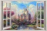 Fantasy Princess Castle 3D Window View Decal WALL STICKER Decor Art Mural H68, Giant