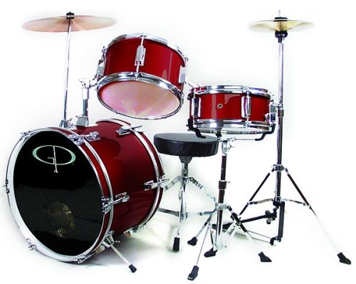 GP50 3-Piece Junior Child/Kid's Drum Set with Sticks -Wine Red (For 3 to 8 yrs)