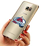 NHL Colorado Avalanche Style Samsung Galaxy S7 Plus Case,Soft Electroplate Silicone Rubber Cover for S7 Plus Gold