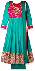 AVI Women's Straight Semi-Stitched Salwar Suit (SKFK A-259_GREEN_FREE)