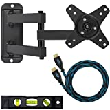 "Cheetah Mounts ALAMB Articulating Arm TV Wall Mount Bracket for VESA 100 12-24"" LCD LED Flat Screen Monitors Display/TVs up to 40lbs Includes Free 10 HDMI Cable and 6"" Bubble Level"