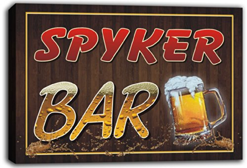 scw3-050250-spyker-name-home-bar-pub-beer-mugs-stretched-canvas-print-sign