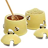 Set of 2 Small Yellow Ceramic Beehive Design Honey & Sugar Bowls / Condiment Spice Storage Jars - MyGift®