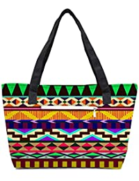 Pack Of 2 Aztec Big Flow Combo Tote Shopping Grocery Bag With Coin Pencil Purse