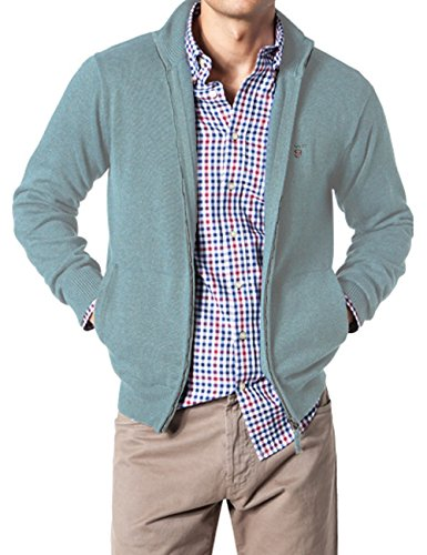 GANT Solid Cotton Zip-Felpa Uomo    Sky Blue Mel. XXXL