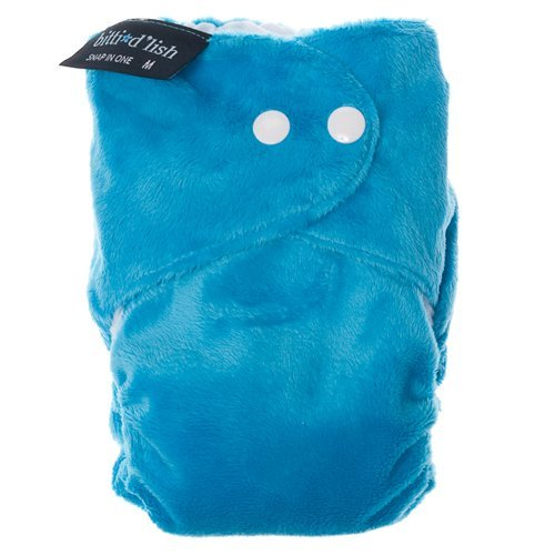Itti Bitti d'Lish snap-in-one nappy, turquoise, small (7.5-16.5lbs), minkee outer, microfibre, bamboo and organic cotton inner