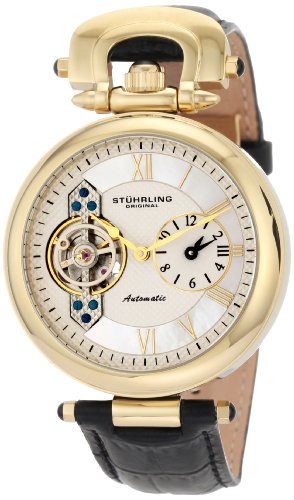 Stuhrling Original Men'S 127.33352 Special Reserve Emperor Automatic Skeleton Dual Time Zone Gold Tone Watch