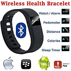 Evana (get free TTL/Trusttel Branded mobile pouch) TW64 OLED Display Bluetooth 4.0 Waterproof Smart Bracelet Watch, Support Pedometer / Sleep Monitoring / Call Reminder / Clock / Remote camera / Anti-lost Function, Compatible with iOS and Android System Watches for men women (Black)