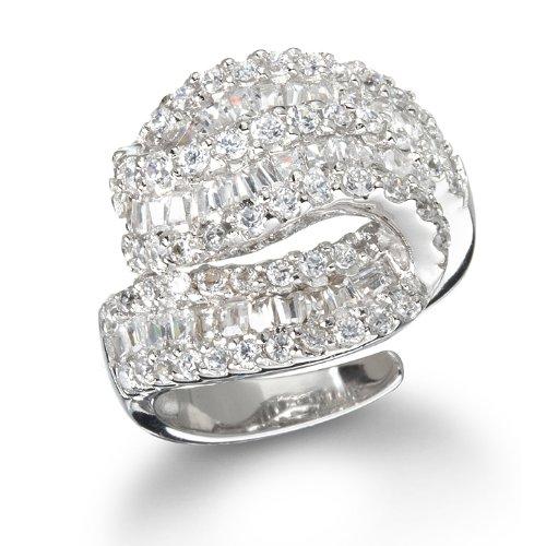White Cz Overlap Baguettes Ring