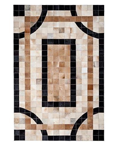 Darya Rugs Cowhide Oriental Rug, Ivory, 6' 2 x 4' 2