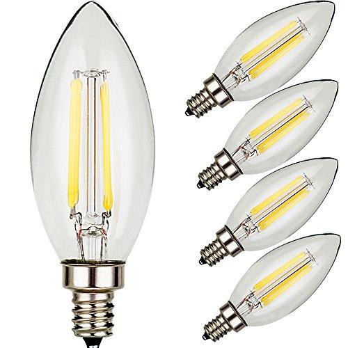 U-NE, LED Filament Bulb, Candle Lights, 4-pack 120v 4w E12 - 40w Equivalent Warm White