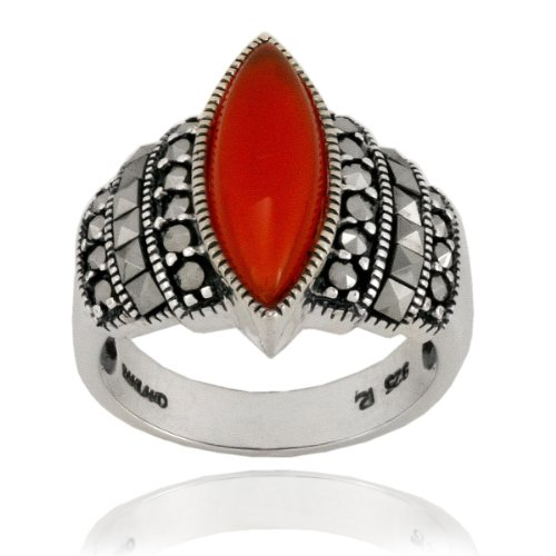 Sterling Silver Marcasite and Carnelian Marquis Ring, Size 5