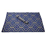 Maine Street Living Machine Made Recycled 8 by 10-Inch Rug with Bonus 3 by 5-Inch Palace Tile Scatter Mat, True Blue