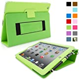 SnuggTM iPad 2 Case - Smart Cover with Flip Stand & Lifetime Guarantee (Green Leather) for Apple iPad 2