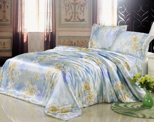 YYfashion 4-piece 100% Pure Natural Silk Bedding quilt 220x240cm bed sheet 250x270cm Pillowcase 48x74 + 5 cm suit for king california king Floral Design Blue
