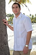 Deluxe fitted Short Sleeve White Guayabera by Mycubanstore