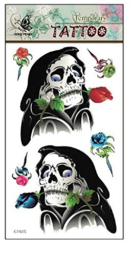 SYZ Beauty Waterproof Temporary Tattoos Flower Grim Reaper Tattoos