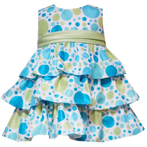 Rare Editions Baby/Infant Girls 3M-9M WHITE TURQUOISE-BLUE LIME-GREEN MULTI DOT TIERED Special Occasion Flower Girl Party Dress-6M RRE-40361E-E640361