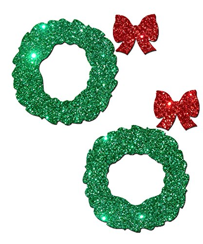 Green Glitter Wreath Nipple Pasties By Pastease® O/S