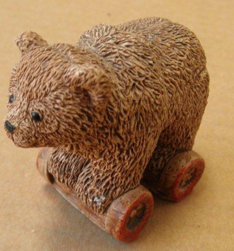 Decorative Ceramic Bear on Wheels - 1 1/2 inches