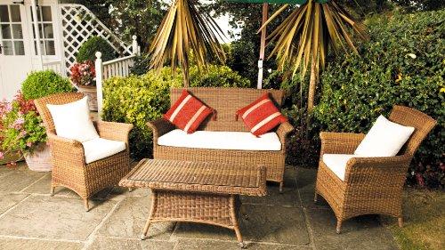 Cozy Bay® Panama Rattan Furniture Java Honey Garden Conservatory Tea for Two Set