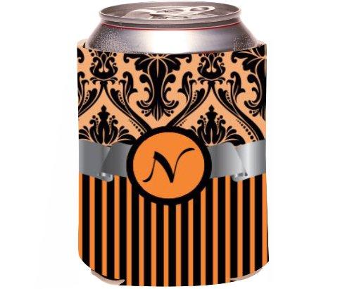 """Rikki Knight Beer Can Soda Drinks Cooler Koozie, Letter """"N"""" Initial Monogrammed Design, Damask And Stripes, Orange front-640448"""