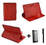 Luxury Red Cute PU Leather Case Stand Cover for Yarvik TAB364EUK GoTab Gravity 8'' 8 Inch Android Tablet Pc + Screen Protector + Stylus Pen