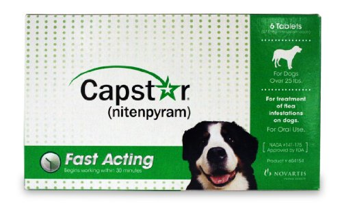 Capstar for Dogs over 25 lbs 6 tablets GREEN