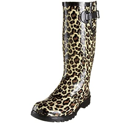 Nomad Women's Tan Leopard Puddles Rain Boot