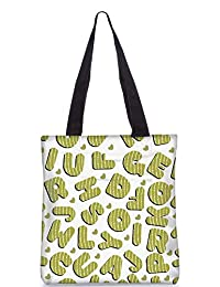 Snoogg Green Alphabets Digitally Printed Utility Tote Bag Handbag Made Of Poly Canvas
