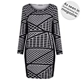 Plus Size Geo Print Long Sleeve Bodycon Dress